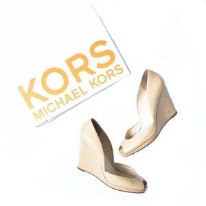 Michael Kors Vail Patent Leather Peep Toe Wedge